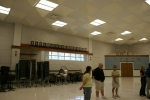 Wayne Sharum and Katherine Staton in the new band room.  Notice all the trophies.  One of the winningest bands in the st