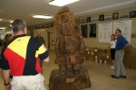 John French's back, Mr. Haver, Sally (Mrs. Wayne)Sharum and John Stroh look at the big Reb.  Carved our senior year by